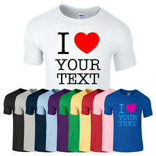 PERSONALISED CHILDS T-SHIRT GIFT ANY CUSTOM TEXT PRINTED I LOVE HEART KIDS XS-XL