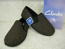 Mens Clarks King Tweed Brown Fabric Twin-Gusset Slip On Slippers G Fitting