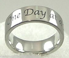 """""""One Day at a Time"""" Band Ring Stainless Steel SZ 5-12  AA Recovery 12 Step"""