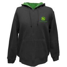 JOHN DEERE MENS HOODIE GRAY FULL ZIP HOODED FLEECE SWEATSHIRT