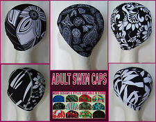 Adults LYCRA SWIMMING CAP - BLACK & WHITE FLORAL - Stunning Swim Hat ADULT - NEW