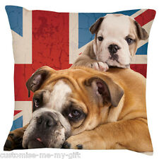 Bulldog Union Jack 2 dogs -  Add your own text choice | Gift | Cute dog