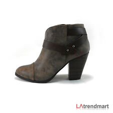 Women's Pointy Faux Leather Boots Casual Ankle Bootie CityClassified Brag Taupe