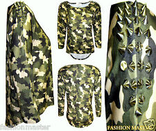 WOMENS NEW LADIES SPIKE STUDDED CAMOUFLAGE PRINT DIP HEM PLUS SIZE T-SHIRT TOP T