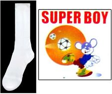 New Wholesale Lot 1 Dz Boys Nylon White Dress Socks - Sizes: S-M-L (# E00020W)