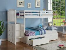 KIDS STAIRWAY LOFT BED W/ REVERIBLE STAIRS & BUILT-IN CHEST - WHITE