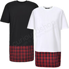 New Red Plaid Checks Panel Side Zip Hem Tee T-shirt Extended Length Black White