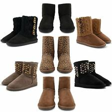 NEW WOMENS LADIES COMFY FUR LINED SNUGG WINTER FASHION BOOTS SLIP ON SHOES SIZES