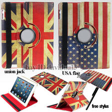 RETRO Vintage Union Jack / Bandiera USA 360 ROTANTE STAND PELLE CASE COVER WALLET