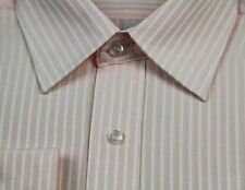 NEW MENS BUSINESS/CASUAL/DRESS/WORK/FORMAL LONG SLEEVE PEACH WHITE SHIRT SHIRTS