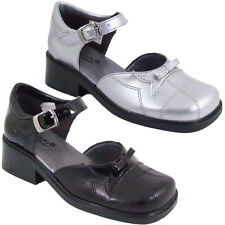 Girls Kids Black Silver Designer Shoes Girls Faux Leather School Shoes Size 11-2