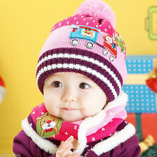 Baby Children Girls / Boys Cap Winter Hat and Scarf  set Warmer Knitted  gift