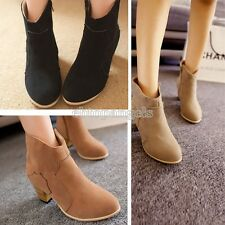 Womens Ladies Winter Riding Ankle Cowboy Boots Mid heel Rider Fashion Shoes