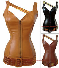 New Faux Leather Long Corset Bustier Steampunk zip Top  Costume / S-2XL