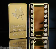 Canadian Maple Money Clip 1oz Bar 28mm x 50mm 24k Gold Plated (15mm x 50mm Clip)
