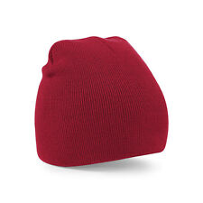 Supersoft Beechfield b44 Plain Knitted Beanie Hat - Classic Red - lot