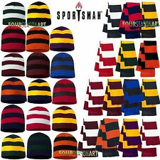 Sportsman Rugby Striped Knit Scarf and Beanie set 15 colors