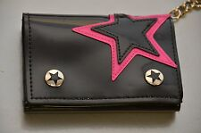 Star Patched Patent Trifold wallet with chain Punk Rock Goth Style
