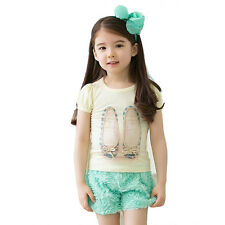 2014 Summer girl clothing set girl cute T-shirt + Rose pants Size4 ((GDT-218))