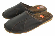 Mens Slipper Shoes Mule Sheep's Wool Natural Leather Black Brown