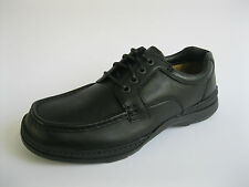MENS BLACK LEATHER EXTRA WIDE 'H' FITTING LACE UP CASUAL SHOE- CLARKS LINE DAY