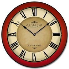 """Large wall clock Galway Red Clock, 12""""- 48"""" Whisper Quiet, Non-Ticking"""