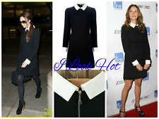 Celebrity Inspired Contrast Collar Cuff Shift Dress Size S,M,L/XL/6-12UK/2-8USA