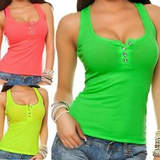 Tank Top Sexy Women's Neon Top Shirt With Rhinestones In 3 Colours Size S M L