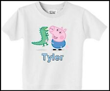 Personalised T-Shirt Peppa Pig George Childs Name Size Cute Age 1 Boys Gift top