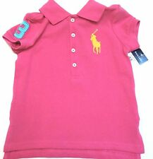 RALPH LAUREN Girls New #3 Big Pony Cotton Pique Mesh Polo Shirt size 2T Nwt
