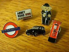 Assorted sights of London pin badge. Taxi, Red Bus, Underground, Abbey Road