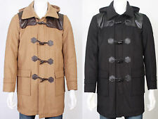 Warm Toggle Button Long Hooded Trench Duffle Coat Jacket Overcoat Mens Size