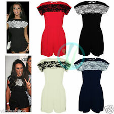 Womens Celeb Lace Black Evening Party Playsuit Romper Jumpsuit Ladies Dress 8 14