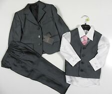 K R Collection Boys HUGO GREY 5 PC Wedding Occasion Suit Waistcoat Pink Tie BNWT