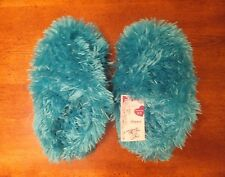 NWT Total Girl Shaggy Clogs Girls Slippers Faux Fur Turquoise Blue 13  1  2  3