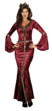 ADULTS WOMENS HISTORIC RENAISSANCE QUEEN COME TO CAMELOT DRESS COSTUME - 4 SIZES