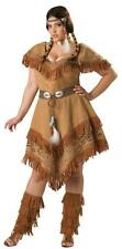 ADULTS WOMENS PLUS SIZE WESTERN NATIVE INDIAN MAIDEN DRESS COSTUME - 2 SIZES