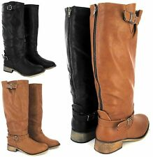 LADIES FLAT HARD SOLE WINTER BIKER STYLE WIDE CALF LEG BOOTS LARGE BIG SIZE 8-11