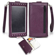 New Slim Lady Casual Wrislet Wallet Zipper Pouch for Samsung Smartphone - Purple