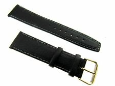 ** 20mm Apollo Black Stitched Flat Profile Leather Watch Strap  - (121)