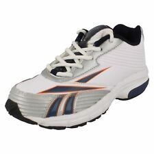 Boys White,Navy & Silver leather lace up trainers   WINNING STRIDE II Reebok