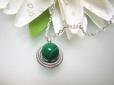 Vintage nature Malachite Rope Bezel sterling silver pendant w/o 925 silver chain