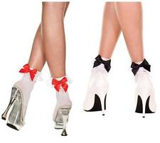 Sexy White Ruffle Ankle Socks with Red or Black Bows