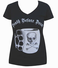 Women's Annex Death Before Decaf V-Neck Brass Knuckles Skull and Crossbones Tee