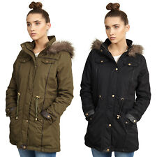 NEW LADIES WOMENS GIRLS JACKET HOODED WINTER TOP PARKER PARKA COAT PLUS SIZE