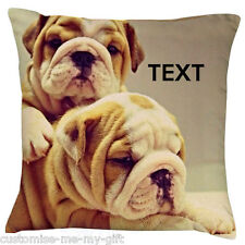 Bulldog Family 2 - Cushion -  Add your own text choice | Gift | Cute dog