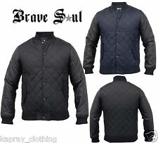 """New Mens Brave Soul Coat Quilted Padded""""Oakland"""" Leather look Bomber Jacket"""