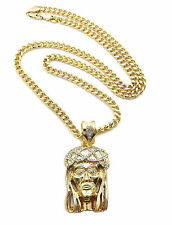 Iced Out Jesus Piece Christ God Long Cuban Link Chain Necklace Mens Jewelry