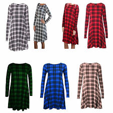 WOMENS TARTAN PLAIN LADIES LONG SLEEVE STRETCH SWING DRESS TUNIC PARTY TOP 8-26