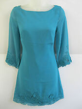 LADIES TEAL EX-CHAIN STORE TOP SHOP EMBROIDERED TUNIC/ DRESS